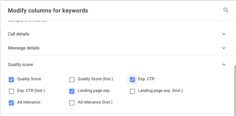 Google Ads Quality Score - Ad Relevance Landing age Experience Expected CTR - MTH Digital